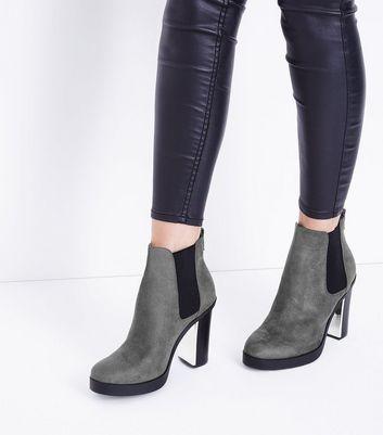 Wide Fit Grey Suedette Metal Heel Chelsea Boots New Look