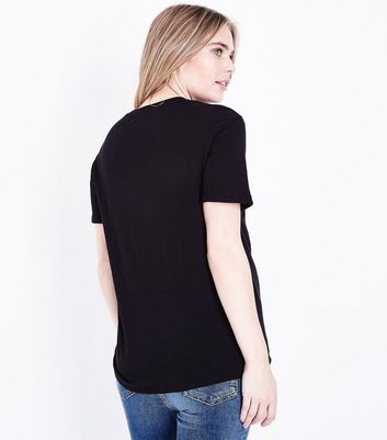 Maternity Black Organic Cotton Short Sleeve T-Shirt New Look