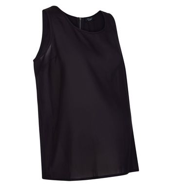 Maternity Black Sleeveless Zip Back Top New Look