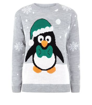 Mela Grey Christmas Penguin Jumper New Look