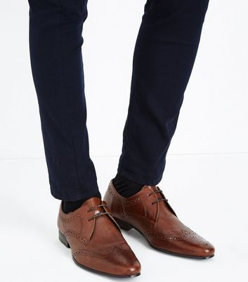 Tan Leather Perforated Brogues New Look