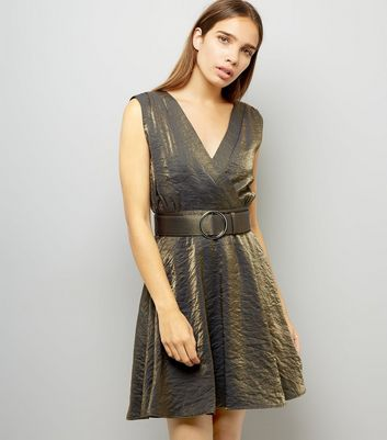 Mela Gold V Neck Belt Dress