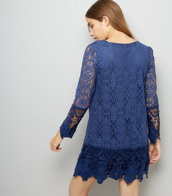 Mela Navy Lace Sleeve Dress New Look