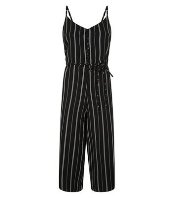 Cameo Rose Black Stripe Culotte Jumpsuit New Look
