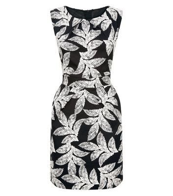 Mela Black Leaf Print Tulip Dress New Look
