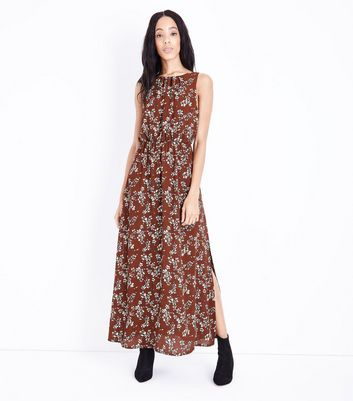 Mela Brown Floral Print High Neck Maxi Dress New Look