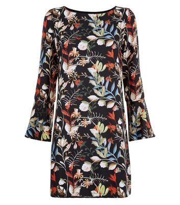 Mela Black Floral Print Bell Sleeve Dress New Look