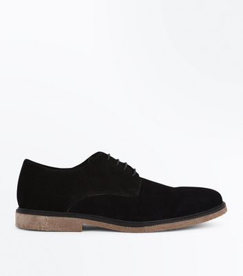 Black Suede Derby Shoes New Look