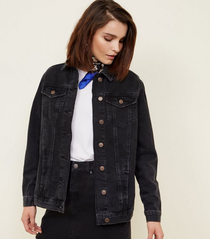 2048817cb3b7 Black Oversized Denim Jacket
