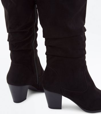 Black Suedette Western Knee High Boots New Look
