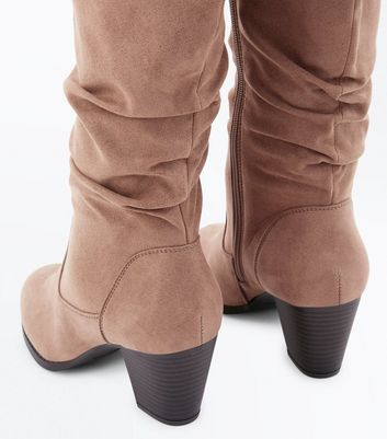 Light Brown Suedette Western Knee High Boots New Look