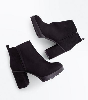 Wide Fit Black Suedette Cleated Sole Heeled Boots New Look