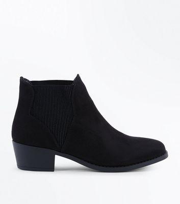 Teens Black Suedette Elasticated Side Chelsea Boots New Look