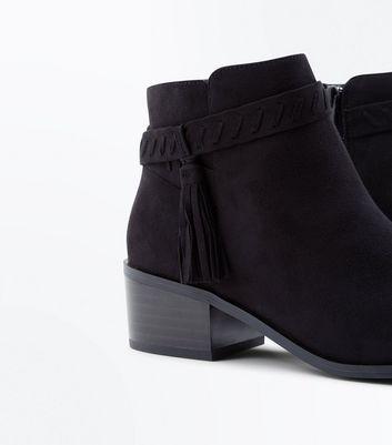 Teens Black Suedette Tassel Ankle Boots New Look