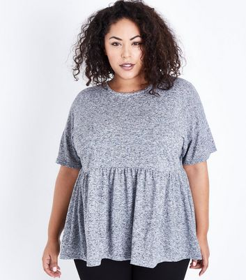 Curves Grey Marl Peplum Hem T-Shirt New Look