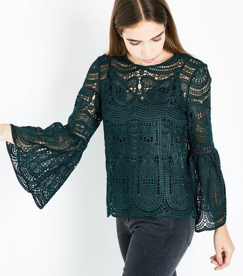 Dark Green Lace Bell Sleeve Top New Look