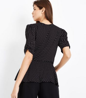 Black Polka Dot Wrap Front Top New Look