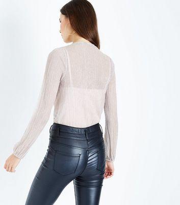 Shell Pink Glitter Plisse Contrast Bodysuit New Look