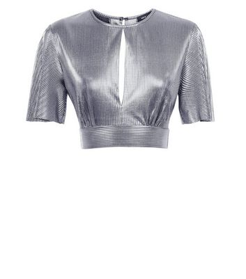 Silver Metallic Plisse Keyhole Crop Top New Look