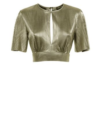 Gold Metallic Plisse Keyhole Crop Top New Look