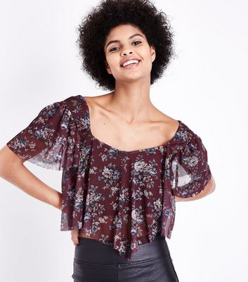 Plum Mesh Hanky Hem Top New Look