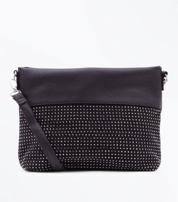 Black Studded Cross Body Bag New Look