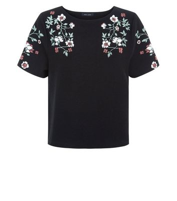 Black Floral Puff Print T-Shirt New Look