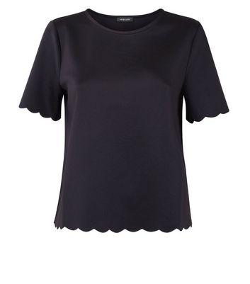 Black Scallop Hem T-Shirt New Look