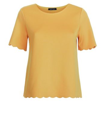 Yellow Scallop Hem T-Shirt New Look