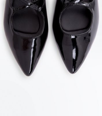 Black Patent Cross Strap Ppinted Pumps New Look