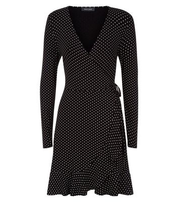 Black Spot Print Wrap Front Jersey Dress New Look