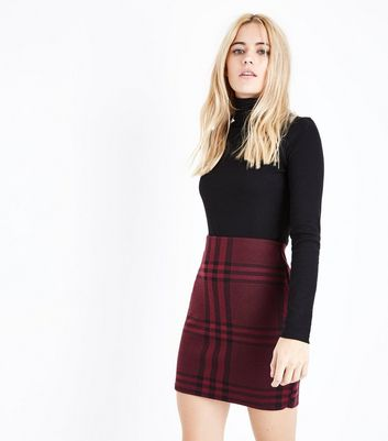 Burgundy Wide Check Jersey Tube Skirt New Look