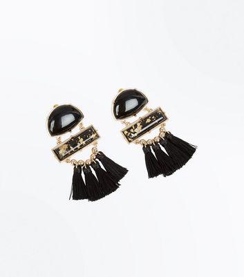 Black Panel Tassel Drop Earrings New Look