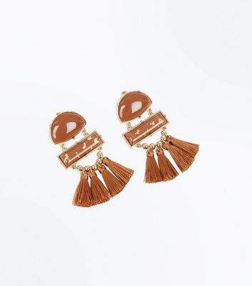 Rust Panel Tassel Drop Earrings New Look