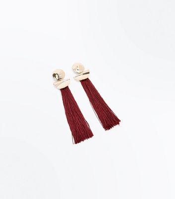 Dark Red Long Tassel Drop Earrings New Look
