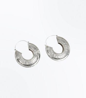 Silver Embossed Hoop Earrings New Look