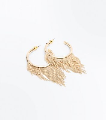 Gold Ball and Chain Trim Hoop Earrings New Look