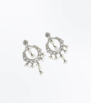 Silver Stone Embellished Pearl Hoop Earrings New Look