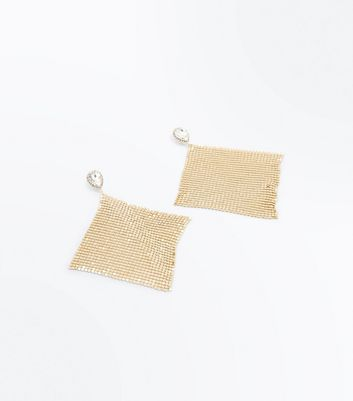 Gold Stone Embellished Chainmail Earrings New Look