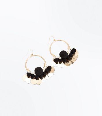 Gold Pom Pom Disc Hoop Earrings New Look