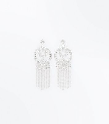 Silver Gem Embellished Tassel Drop Earrings New Look