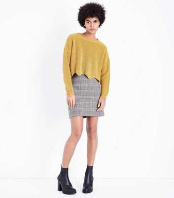 Mustard Yellow Scallop Hem Jumper New Look