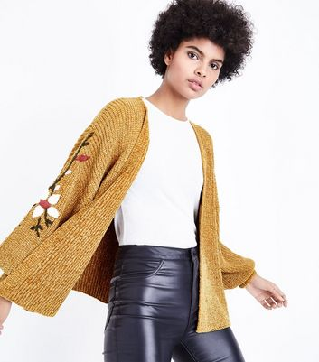 Mustard Chenille Embroidered Balloon Sleeve Cardigan New Look