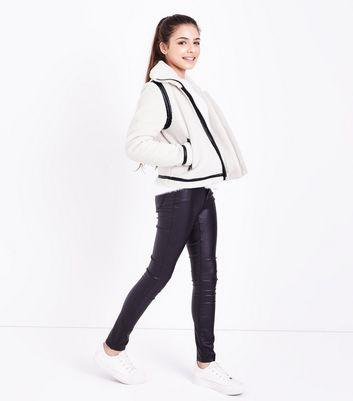 Teens Cream Faux Fur Teddy Borg Jacket New Look