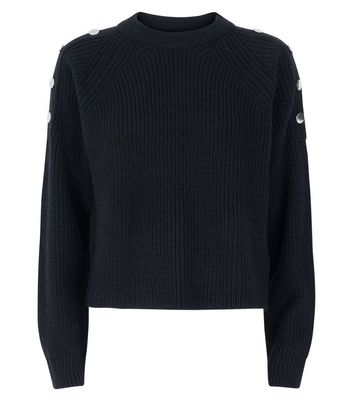 Black Button Shoulder Jumper New Look