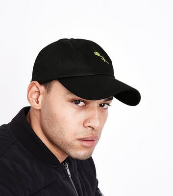 Black Rose Embroidered Cap New Look
