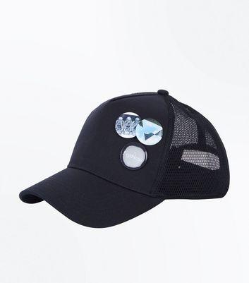 Black Pin Badge Cap New Look