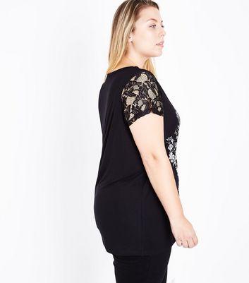 Curves Black Eagle Print Lace Sleeve Slogan T-Shirt New Look