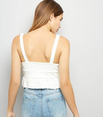 Cameo Rose White V Neck Frill Trim Crop Top New Look