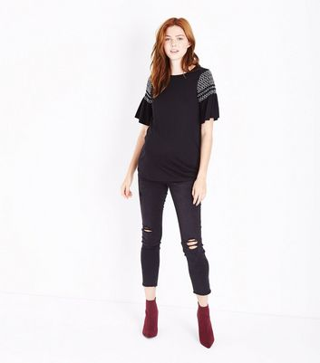 Maternity Black Contrast Shirred Sleeve T-Shirt New Look